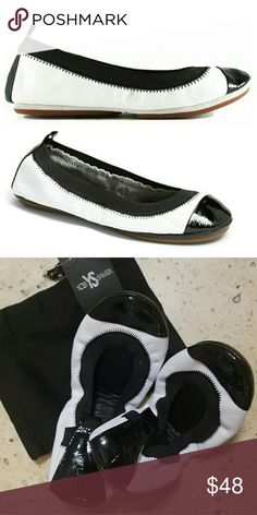 {Yosi Samra} Samara Foldable Ballet Flat Black and white cap toe foldable flats by Yosi Samra. Just like Tieks but a fraction of the price! Still has tags on dust bag...never worn and in perfect condition. Leather upper. Elastic topline with cushioned footbed. Yosi Samra Shoes Flats & Loafers