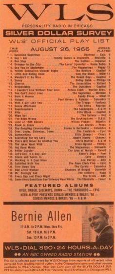 AM 890 WLS Chicago Music Surveys Vintage Newspaper, Vintage Music, The Yardbirds, Music Hits, Living Without You, Sing To Me, Oldies But Goodies, Music Bands, Rock Music