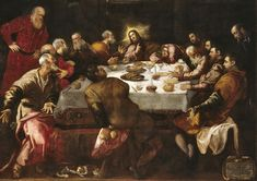 Tintoretto, The Last Supper, church of Saint Francis-Xavier http://mini-site.louvre.fr/venise/commun/img/exposition/sacre_profane/Tintoret_Cene_FrancoisXavier400.jpg - More at http://commons.wikimedia.org/wiki/Category:Paintings_by_Jacopo_Tintoretto (Thx Seulette)