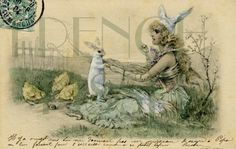 DIGITAL scan EASTER Rabbit Victorian lady with by FrenchKissed, $4.99