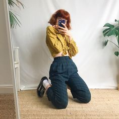 - Depop : Beautiful true vintage high waisted checked trousers, in and - Depop Mom Outfits, Retro Outfits, Trendy Outfits, Vintage Outfits, Cute Outfits, Fashion Outfits, Aesthetic Fashion, Aesthetic Clothes, Checked Trousers Outfit