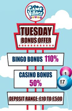 It's all about #fun, #games and #bonuses at GameVillage. So why don't you come and grab our #Terrific #Tuesday #Bonus Offer by making a deposit of just £10.  Click here for exciting #Bingo and #Casino #games: https://www.gamevillage.com