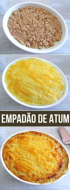 In our website we have several recipes with tuna, always delicious and very simple to prepare. This recipe with tuna goes to the oven with puree brushed with egg yolk. Canned Tuna Recipes, Pureed Food Recipes, Fish Recipes, Cheesecakes, Portuguese Recipes, No Cook Desserts, Food Website, Food Inspiration, Food And Drink