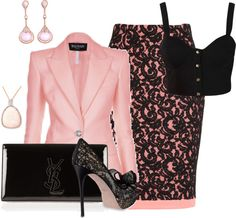 """""""Pink, lace, and Bralet"""" by somanysparkles on Polyvore...love this except I like Kitten heels..."""