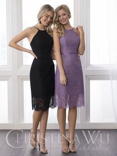 This short, lace dress features a chic, sheer hem detail on the skirt. The straps and belt are made of satin. Pictured in Black/Black/Black, Wisteria/Wisteria/Wisteria. Contact an authorized retailer for fabric and color options.
