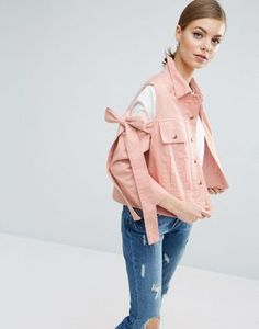 08b48bbf96c79e ASOS Jacket with Bow Cold Shoulder Outdoor Coats, Pink Jeans, Pink Jacket,  Stretch
