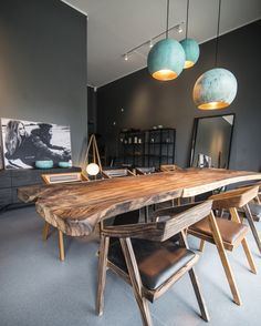 Suar slabwood dining table and our oxidized copper lamp. https://www.instagram.com/p/BIAymc3j79s/?taken-by=formelwood