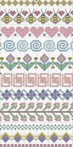 Cross-stitch Borders... no color chart available, just use pattern chart as your color guide.. or choose your own colors... ... Point de croix *m@* Cross stitch borders: