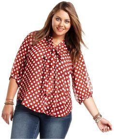 Eyeshadow Plus Size Blouse, Three-Quarter-Sleeve Polka-Dot - Plus Size Tops - Plus Sizes - Macy's