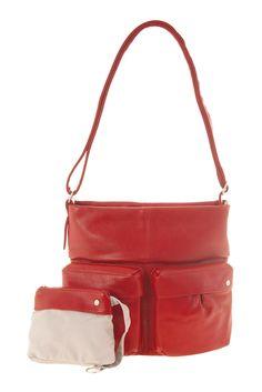 Frauentaschen :: ROMY :: R13 | ZWEI Taschen Tasche :: lederfrei :: rot :: crossbody :: Außentaschen
