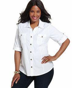 Style&co. Three-Quarter-Sleeve Utility Shirt