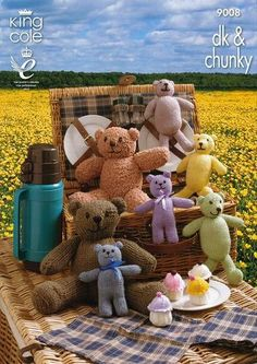Items similar to Teddy Bear Pattern Teddy Bears Picnic Knitting Pattern in DK (Light Worsted)/Chunky (Bulky) King Cole on Etsy Chunky Knitting Patterns, Crochet Toys Patterns, Stuffed Toys Patterns, Knitting Ideas, Large Teddy Bear, Knitted Teddy Bear, Teddy Bears, Baby Announcement Grandparents