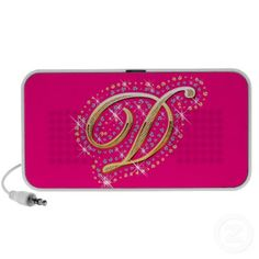 Pink Doodle Speaker with Initial D Initial D, Personalized Gifts, Create Your Own, Zip Around Wallet, Diamonds, Doodles, Pink, Gold, Bags