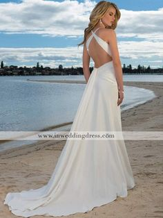 beach wedding dress. absolutley love the back. I'm pretty sure this is almost identical to the dress I saw years ago and loved, but have never seen again. awesome!