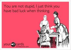 you are not stupid. I just think you have bad luck when thinking.