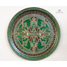 Green hand painted serving tray, decorative plate, round metal tray,... ($130) via Polyvore featuring men's fashion