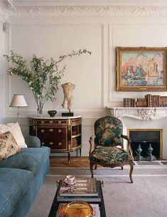 Demilune chest with ormolu alongside a French Fauteil Chair Habitually Chic Paris Pied- -Terre Interior Design Inspiration, Home Interior Design, Room Inspiration, Interior Decorating, Interior Sketch, Studio Interior, Cafe Interior, Interior Paint, Home Living Room