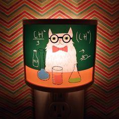 Chemistry Cat Night Light meme adorable art by Kathleen Habbley Cute Nursery Bathroom hallway Bedroom GET IT nightlight Nite Lite