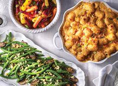 Pimiento Potato Gratin, Holiday Carrot Salad, & Green Bean Cornbread Sauté