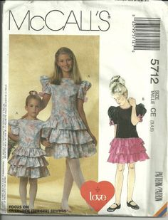 McCalls 5712 Frilly Party Dress with Drop by HeavenztoBetsyDesign