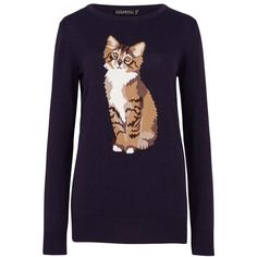 Sugarhill Boutique Nita Curious Cat Sweater ($64) ❤ liked on Polyvore featuring tops, sweaters, navy, women, cat tops, purple sweater, animal print tops, purple top and navy blue tops