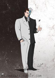 evjonesart:  Two Face aka Harvey Dent from Batman the Animated Series  Artwork by Ev Jones  Batman © DC Comics