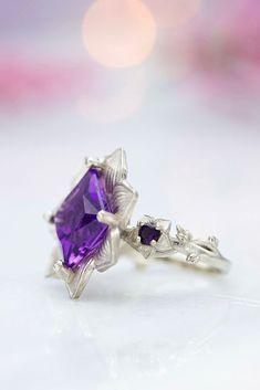 30 Outstanding Floral Engagement Rings ❤ floral engagement rings princess cut amethyst decor #weddingforward #wedding #bride