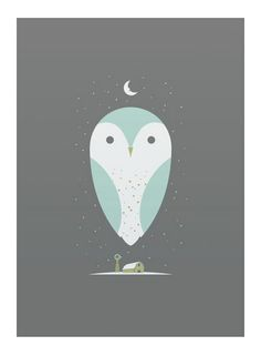 Barn Owl art print  hand made screen print on heavy paper  print measures 10 inches x 14 inches  artist:  bee things