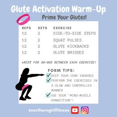 Aug 2019 - In this video, I explain what glute activation is and I show you how to activate and isolate your glutes. These five simple exercises are perfect for glute activation warm-up routine to prime your glutes for any workout! Home Exercise Program, Home Exercise Routines, At Home Workout Plan, Workout Programs, At Home Workouts, Workout Plans, Yoga Routine, Workout Challenge, Glute Activation Exercises