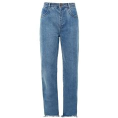 Chloé Frayed-hem wide-leg jeans (€620) ❤ liked on Polyvore featuring jeans, pants, bottoms, trousers, denim, wide leg jeans, blue high waisted jeans, blue jeans, wide leg denim jeans and cuff jeans