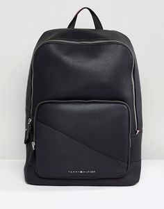 Tommy Hilfiger Diagonal Faux Leather Backpack in Black