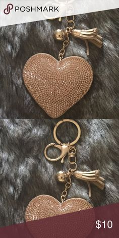 Gold Puffed Heart W/Leather Tassel Key Chain. New Gold Puffed Heart with Leather Tassel Purse Decor/Key Chain Accessories Key & Card Holders