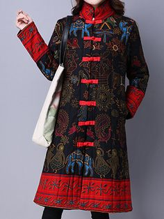 Ethnic Women Long Sleeve Printed Plate Buckle Stand Collar Coat