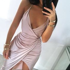 Wheretoget - Blush pink silk dress and gold bangles