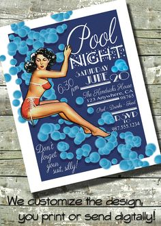 POOL PARTY  Adult Pool Night Invite  5x7 by DitDitDigital on Etsy