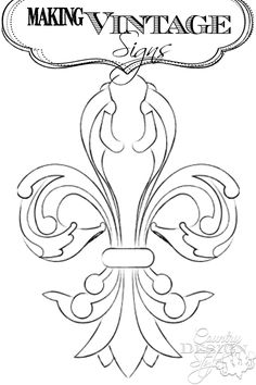 My fleur de lis drawn on computer to use in making vintage inspired signs.  Click to read more and sign up for the free webinar workshop on easy sign making tips.  Country Design Style