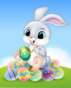 Cartoon easter bunny painting an egg on the easter eggs premium vector Easter Images Jesus, Easter Images Religious, Easter Images Clip Art, Easter Bunny Pictures, Easter Egg Cartoon, Easter Bunny Eggs, Easter Art, Easter Crafts, Happy Easter Wallpaper