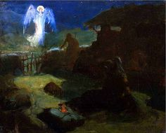 """Henry Ossawa Tanner, The Annunciation to the Shepherds 1895 . Gospel of Luke: """"You will find a baby wrapped in cloths and lying in a manger. African American Artist, American Artists, Henry Ossawa Tanner, Gospel Of Luke, Bible Illustrations, Peter Paul Rubens, Biblical Art, The Shepherd, Oil Painting Reproductions"""