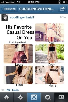 His favorite casual dress on you. I really really like Harry's.
