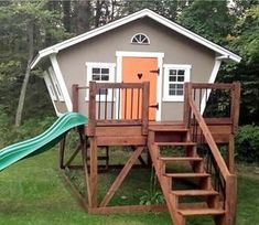 Building your little one a playhouse in the backyard will surely make them happy. However, you'll want it to be safe as well as beautiful. There are a few things you should know before you build a playhouse for kids. Kids Playhouse Plans, Outside Playhouse, Backyard Playhouse, Build A Playhouse, Wooden Playhouse, Playhouse Kits, Simple Playhouse, Outdoor Playhouses, Girls Playhouse