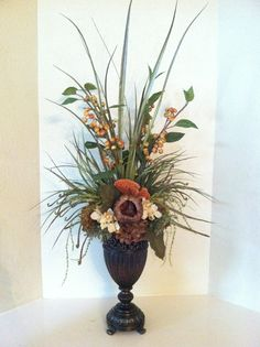 Elegant Faux Floral Arrangement - Berry & Pod Floral Arrangement - Silk Floral Centerpiece - Tall Arrangement on Etsy, $150.00