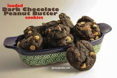 Loaded Dark Chocolate Peanut Butter Cookies. These look dangerous!