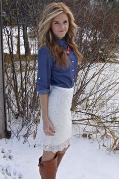 Denim and Lace. Win...I would love this lace skirt with a cranberry colored shirt and jean jacket