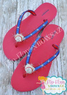 b3e32af61e7fda Baseball Bling Flip Flops Ladies Size 8 by FlipflopsnbowsAZ on Etsy Custom  Flip