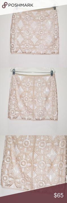 Express Gold   White Sequin Mini Skirt •Size 10 •Length Of Mini 1ec18145a