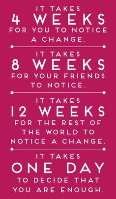 It takes 4 weeks for you to notice a change; 8 weeks for your friends to notice and 12 weeks for the rest of the world. Start a new and healthy habit today.