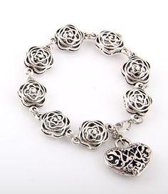 Silver charm bracelet, 3D Floral Flowers, heart charm, fashion necklace