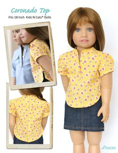 The Liberty Jane Coronado Shirtdress and Top Kidz N Cats Doll Clothes Pattern. This cute pullover style shirtdress will make the perfect addition to your Kidz N Cats doll's summer wardrobe. Girl Doll Clothes, Doll Clothes Patterns, Clothing Patterns, Doll Patterns, Girl Dolls, Shirt Dress Pattern, Cat Doll, Roll Up Sleeves, American Girl