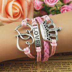 Crown Bracelet, Infinity Bracelet, Love Bracelet, Antique Silver