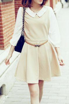 Beige Peter Pan Collar 3/4 Sleeve One-piece Dress